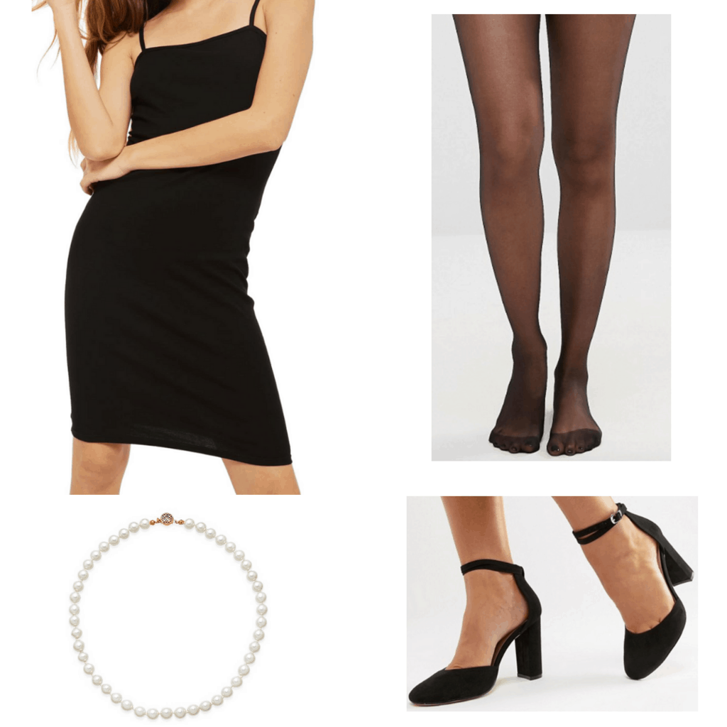 black slip dress with pearl strand, black tights, and chunky black heels