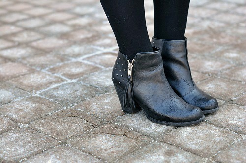Black studded ankle boots at indiana state university