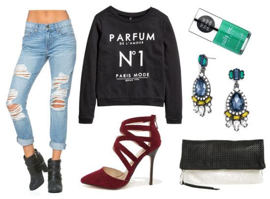 Black sweatshirt boyfriend jeans oxblood heels