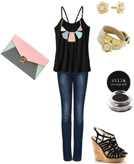 How to accessorize a black tank and jeans for a night out with a colorblock handbag, statement necklace, watch, and wedges