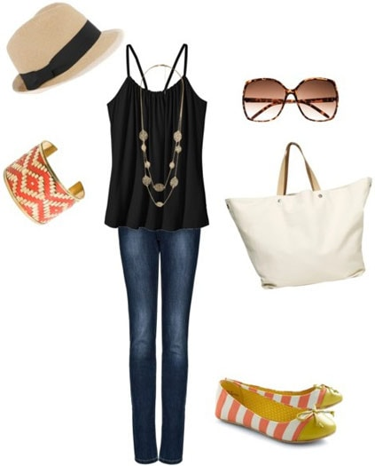 How to accessorize a black tank and jeans for daytime with a long necklace, striped accessories, a white tote bag, sunglasses and a fedora