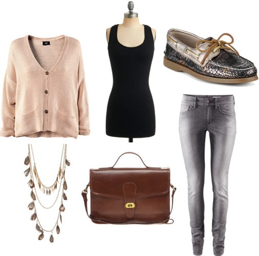 How to wear a basic black tank top to class with a pink cardigan, pretty necklace, skinny jeans, loafers, and a satchel