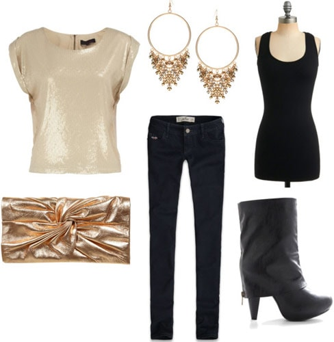 How to wear a basic black tank top for a night out with a metallic tee, dark wash skinnies, a gold clutch, earrings and statement boots