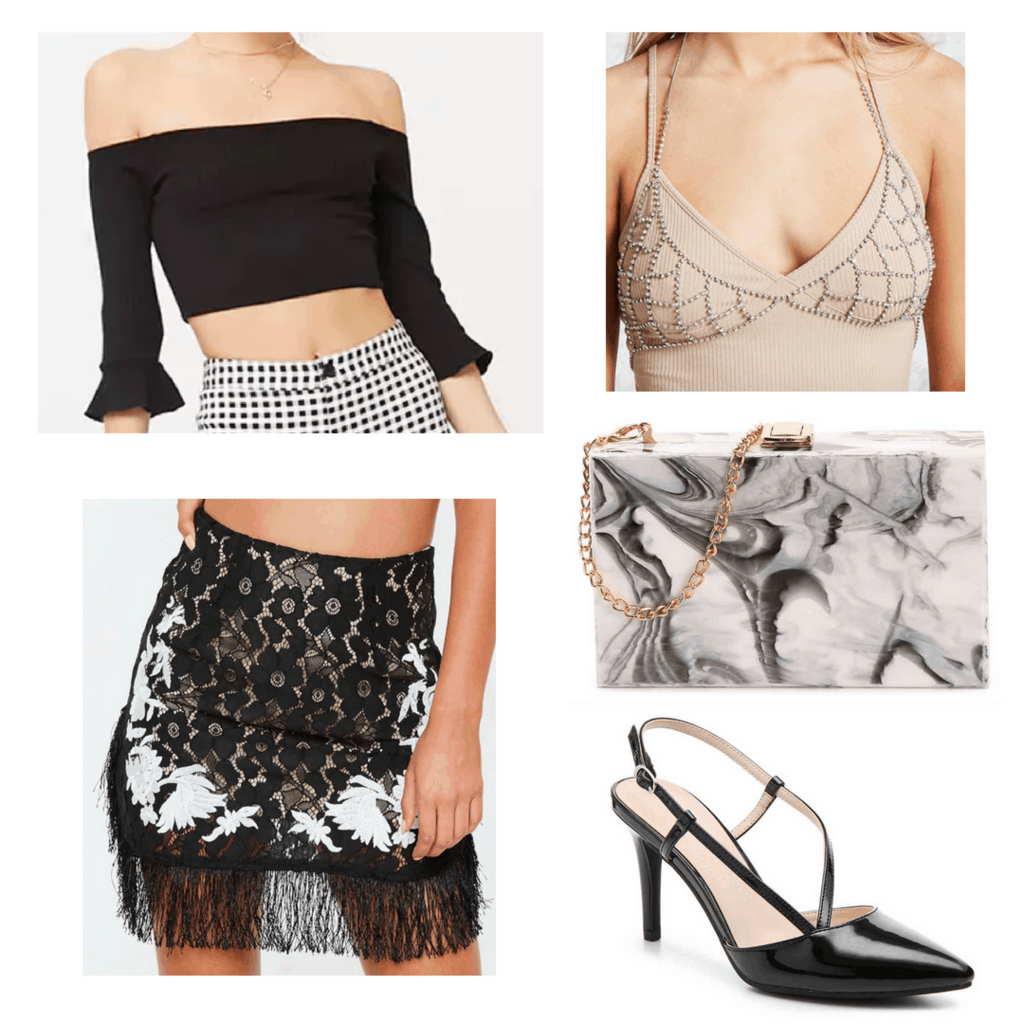 Black and white tassel skirt with black off-the-shoulder top, chain bralette, marble handbag and black heels