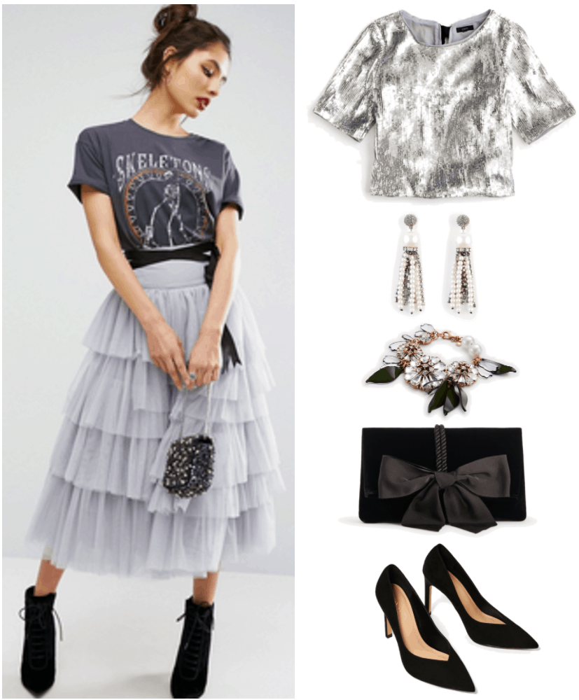 """Ask CF: What Do I Wear to a Black Tie Wedding?"" Outfit #1 featuring pastel gray-ish purple tiered tulle skirt with black gros grain ribbon belt, silver sequined short-sleeved top with gros grain ribbons at back, crystal and faux pearl tassel earrings, statement flower bracelet, black velvet clutch with bow, and black pointed-toe pumps"