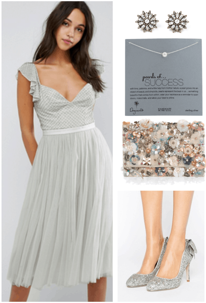 """Ask CF: What Do I Wear to a Black Tie Wedding?"" Outfit #2 featuring pastel mint beaded tulle midi dress, pearl and crystal earrings, silver pearl necklace, floral-embellished fold-over clutch, and silver and gold glitter pumps with bow at back"