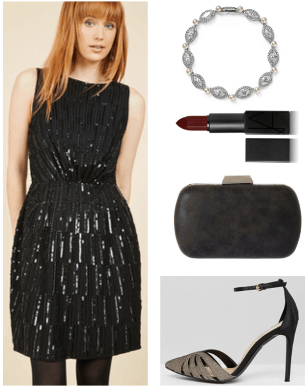"""Ask CF: What Do I Wear to a Black Tie Wedding?"" Outfit #3 featuring short black sleeveless sequined dress, Swarovski crystal, cubic zirconia, and faux pearl tennis bracelet, dark red lipstick, black clutch, and black and pale gold ankle-strap pointed-toe pumps with cutout detail"
