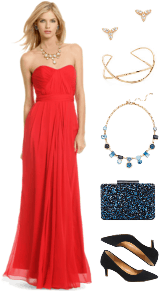 """Ask CF: What Do I Wear to a Black Tie Wedding?"" Outfit #4 featuring red strapless gown with sweetheart neckline, gold cubic zirconia leaf-shaped stud earrings, gold twisted cuff bracelet, gold statement necklace with blue crystals and cubic zirconia accents, blue crystal-embellished minaudière, and black suede pointed-toe kitten-heel pumps"