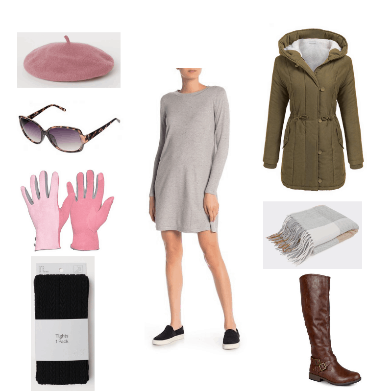Winter outfit with sweater dress, textured tights, green coat, boots, pink beret, sunglasses, plaid scarf, and pink gloves