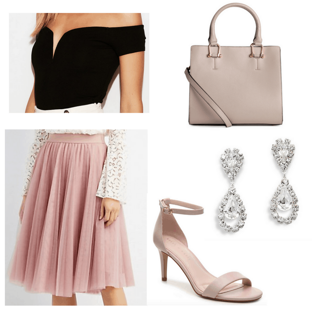 Black sweetheart top with pink tulle skirt, nude-pink bag and heels, and tear drop rhinestone earrings.