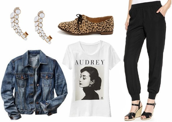 Black track pants graphic tee denim jacket outfit