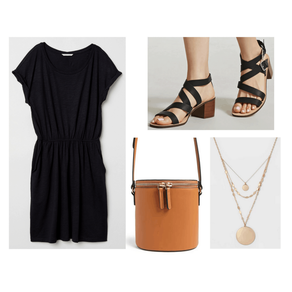 Black t-shirt dress with black sandal heels, basket bag, and layered gold necklaces