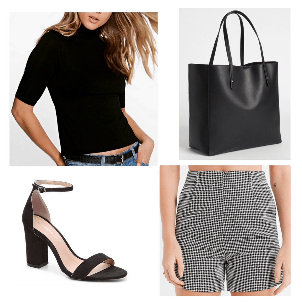 Black cropped turtle neck with blag tote, block heels, and houndstooth high waisted shorts