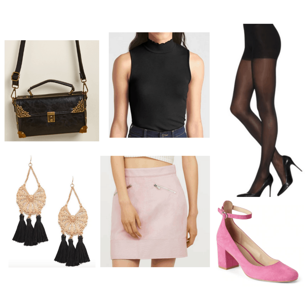 Black sleeveless turtle neck with pink mini skirt, sheer black tights, chandelier earrings, pink block heels, box handbag.