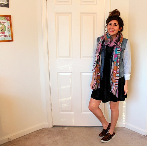 Black-Velvet-Dress-Animal-Print-Slipons-Denim-Jacket-Tribal-Pastel-Scarf-Messy-Top-Knot