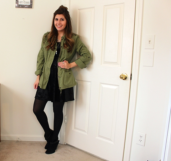 Black-Velvet-Dress-Green-Utility-Jacket-Half-Top-Knot-Black-Ankle-Boots-Layered-Necklace