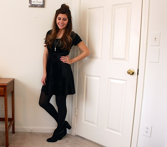 Black-Velvet-Dress-Tights-Half-Top-Knot-Boots