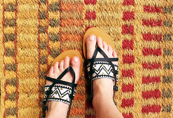 Black and white patterned sandals from Francesca's.