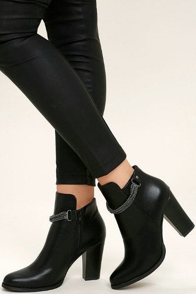 Cool Black Ankle Booties with chain detailing