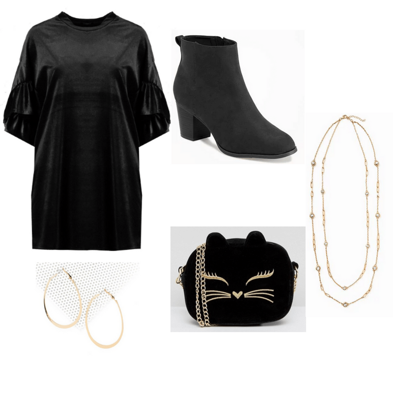 An outfit spread featuring a black velvet dress, black boots, gold hoop earrings and long gold chain necklace, and black velvet cat purse with a gold face.