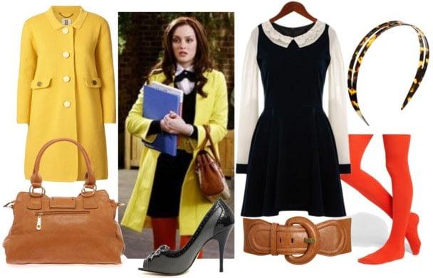 Blair waldorf look 2: collared schoolgirl dress, red tights, brown belt, brown satchel, yellow peacoat, oxford pumps, and tortoiseshell headband