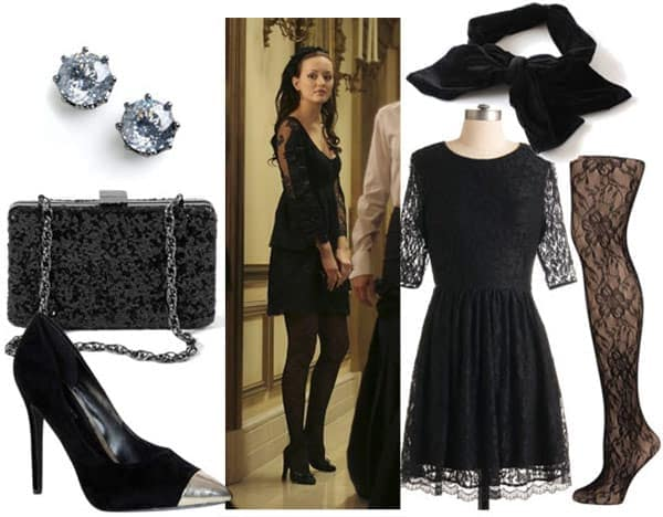 Outfit inspired by Blair Waldorf's black lace dress: Little black dress, black pumps, hair bow, lace tights, chain strap bag, stud earrings