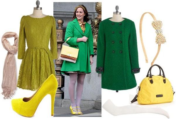 Blair waldorf outfit 3: Green coat, light colored tights, yellow shoes, green dress, yellow handbag, headband