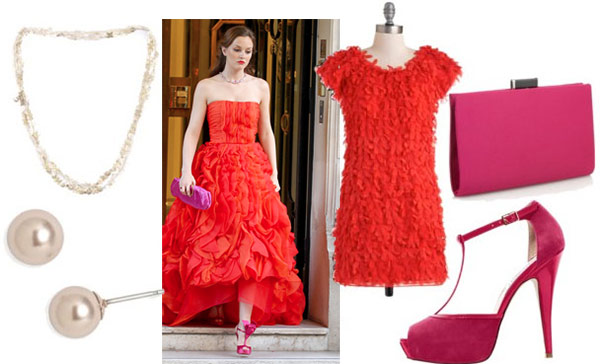 Blair Waldorf outfit 4: Inspired by Blair's red strapless gown - red ruffle dress, pink t-strap heels, pink clutch, pearl studs, layered necklace