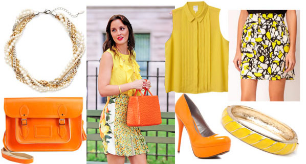 Blair waldorf outfit 5: Inspired by Blair's yellow ruffle tank, floral skirt, and orange bag - Yellow sleeveless blouse, yellow patterned skirt, orange pumps, orange tote bag, yellow bangle, necklace