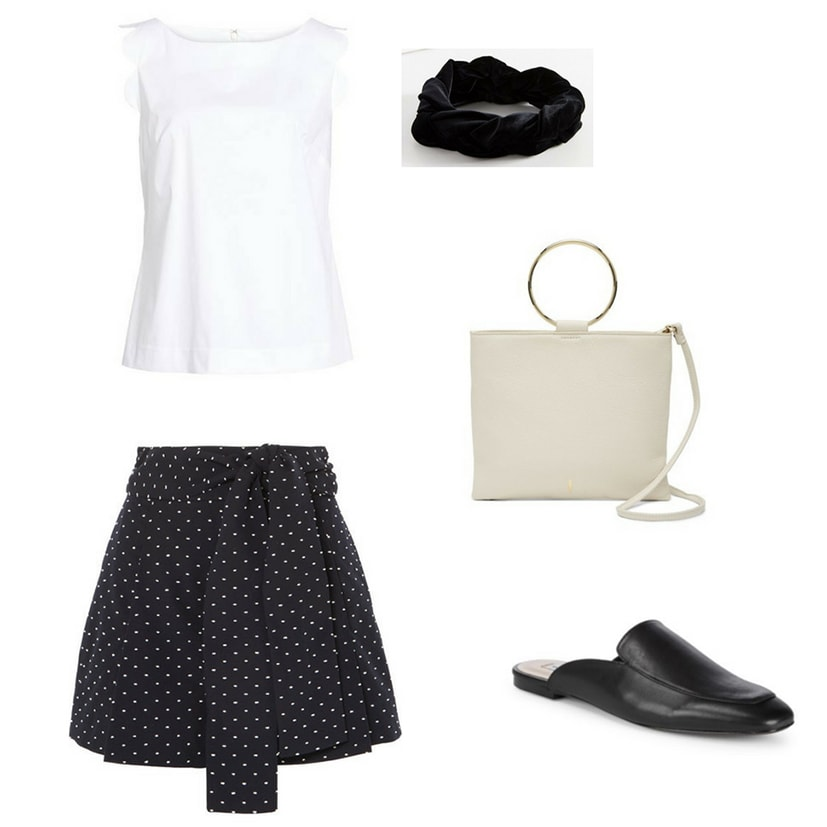 Blair Waldorf summer outfit inspired by Blair's summer style: White scalloped sleeve tank top, black and white polka dot skirt, black leather loafer mules, black headband, preppy handbag