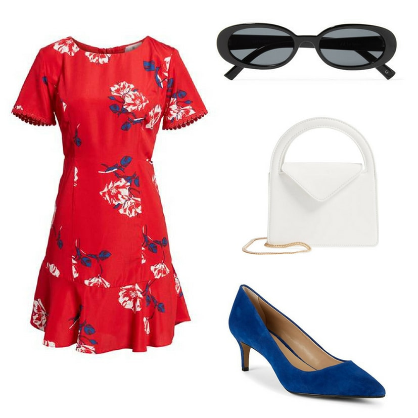 Blair Waldorf summer outfit inspired by Blair Waldorf's summer style on Gossip Girl: Red floral dress with ruffle, classic sunglasses, white envelope handbag, blue suede pumps