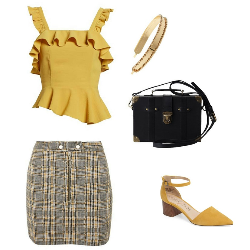 Blair Waldorf summer outfit inspired by Blair's style on Gossip Girl: Yellow and black plaid skirt, yellow ruffle tank top, black turnlock handbag, mustard yellow pointed toe sandals