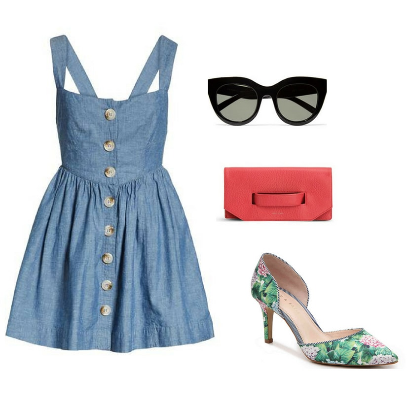 Outfit inspired by Blair Waldorf's preppy summer style: Chambray dress, oversized sunglasses, red clutch, floral d'orsay pumps