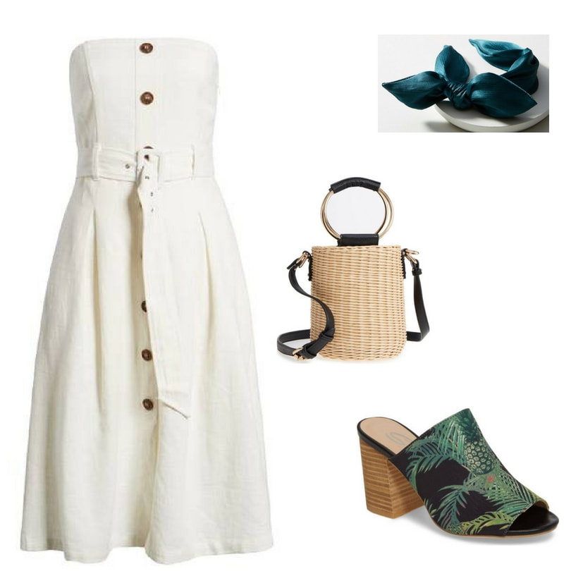 Outfit inspired by Blair Waldorf's summer style on Gossip Girl: White strapless dress with buttons, straw handbag with ring detail, teal blue silk headband, tropical print open toe high heeled mules