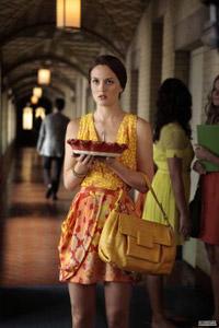 Blair Waldorf wearing a bright yellow dress
