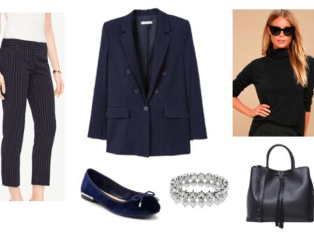 Oversized blazer outfit for day: Navy oversized blazer, black turtleneck, navy pinstripe trousers, navy ballet flats, tote bag