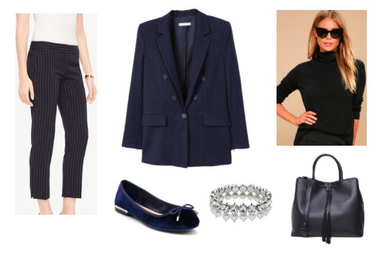 Oversized blazer outfit for day: Navy oversized blazer, black turtleneck, navy pinstripe trousers, navy ballet flats, tote bag
