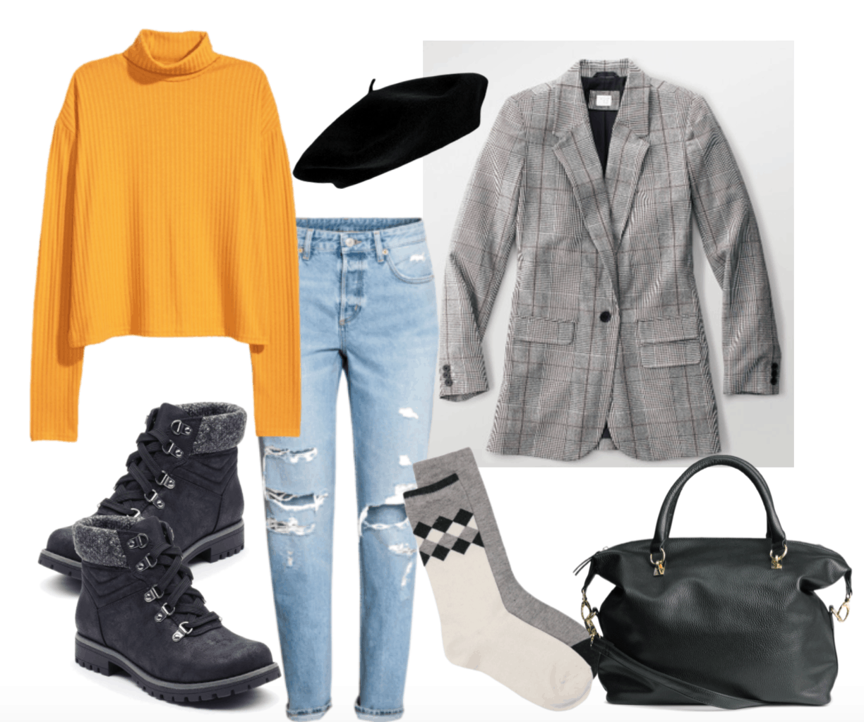 How to wear plaid blazer: Grey plaid blazer outfit with Parisian beret and mustard turtleneck.
