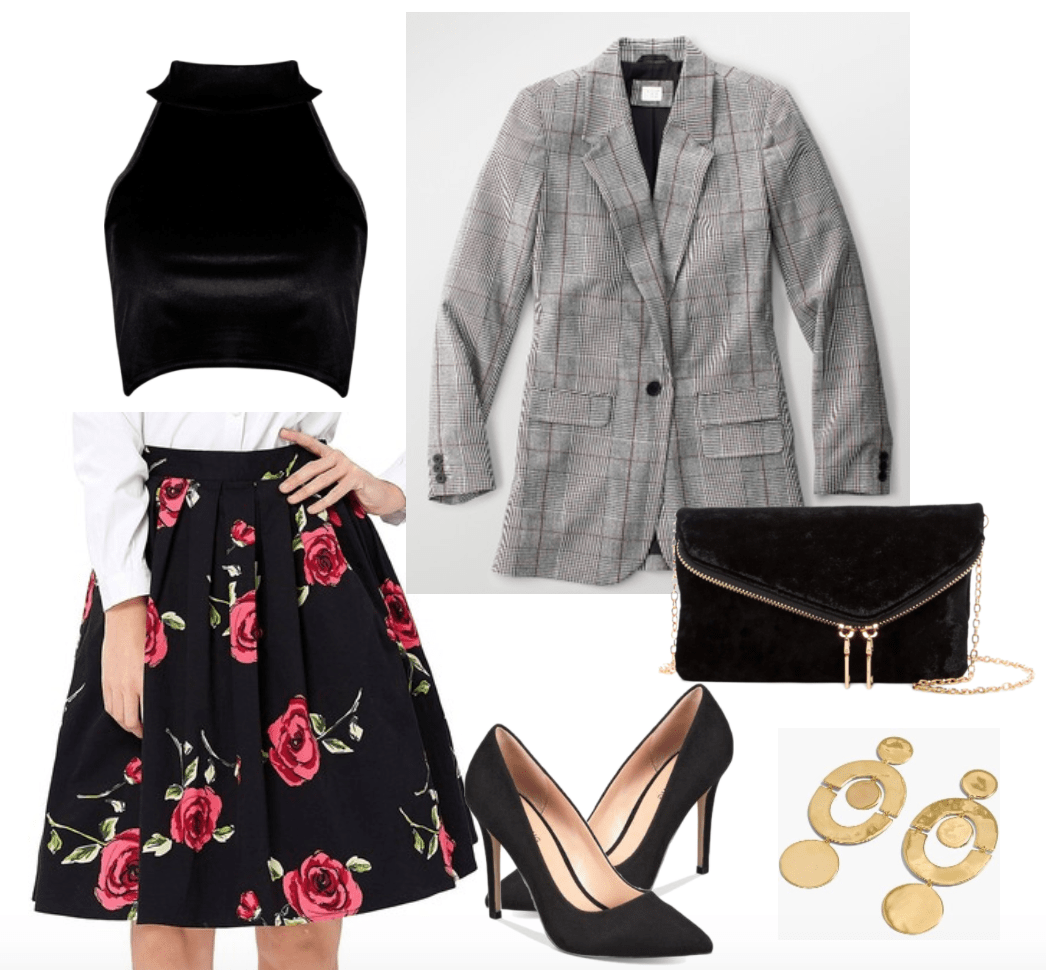 How to wear plaid blazer: Grey plaid blazer for date time including velvet crop top and floral circle skirt.