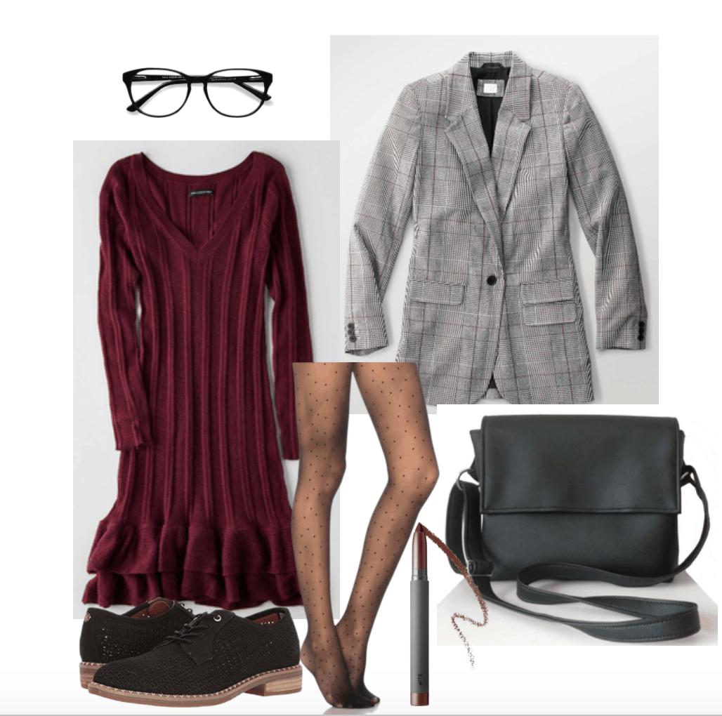 How to wear plaid blazer: Grey plaid blazer for work with burgundy sweater dress and glasses.