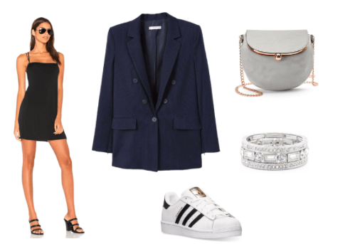 Oversized blazer outfit for night: Oversized navy blazer, black body con dress, Adidas superstar sneakers, gray chain strap bag