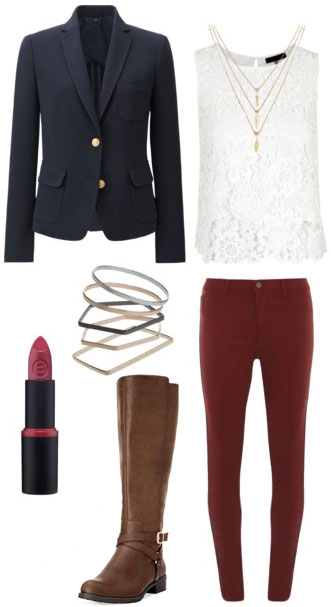 Cute outfit idea: Navy blazer, white lace top, burgundy red pants, riding boots