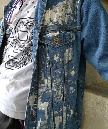 Bleached denim jacket Kent State street style