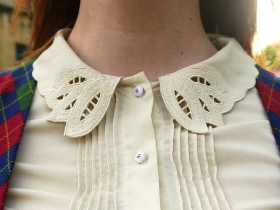 Vintage beige peter pan collar blouse