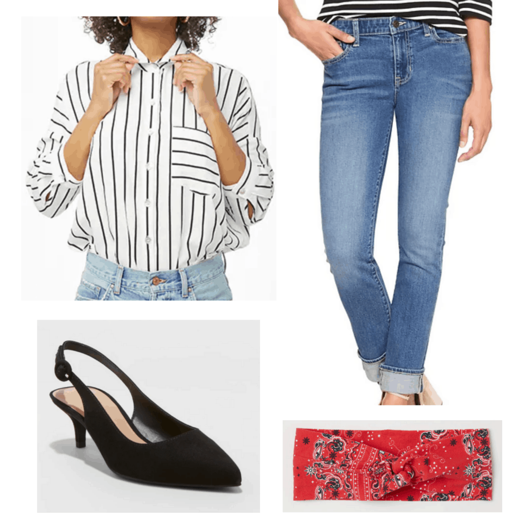 White striped button down blouse with cuffed jeans, black kitten heels, and red bandana