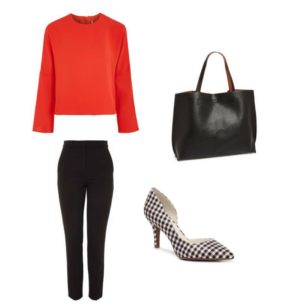 Fashion interview outfit: blouse, heels, tote, pants