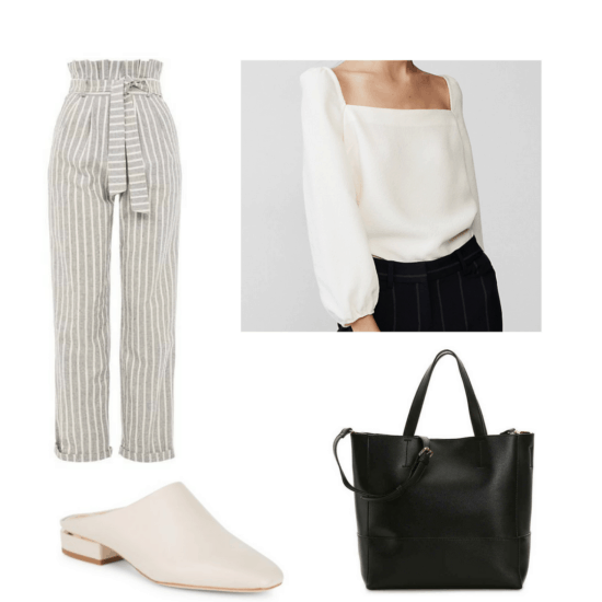 Fashion interview outfit: Paperbag pants, blouse, mules, tote bag