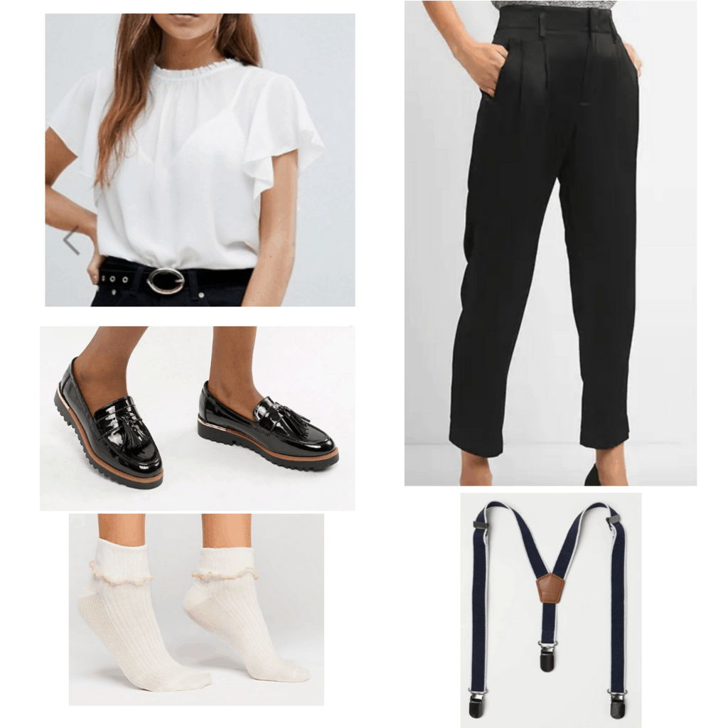 White ruffled blouse with black trousers, black chunky loafers, white ruffled socks, and suspenders