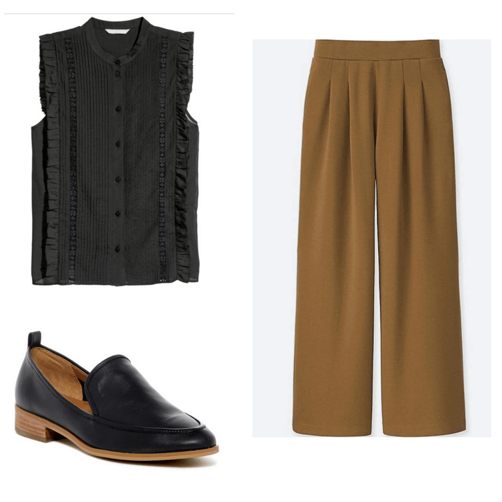 Black short-sleeved blouse with brown wide-legged trousers and brown/black loafers