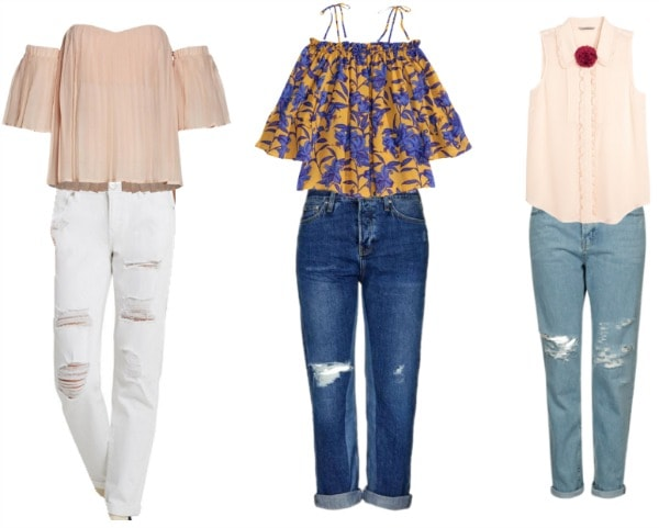 boyfriend jeans paired with blouses